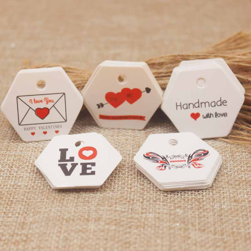 3*3.5cm Hexagon Shape Various Styles Wedding Card Tag Diy Heart Gifts Card Tag Label Kraft Paper Love Candy Favor Tag 100pc/lot
