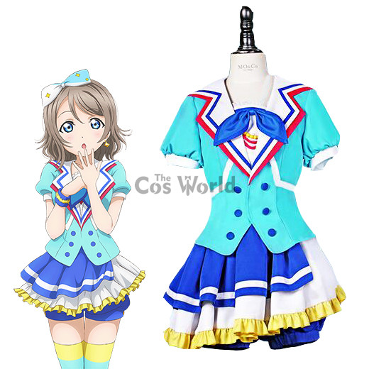 LoveLive!Sunshine!! Jumping Heart Watanabe You Sailor Suit Uniform Dress Outfit Anime Cosplay Costumes