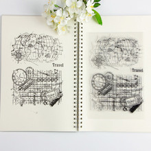 14*18cm Stamp Transparent vintage world travel map Clear stamps/seal Craft stamp for Scrapbooking album photo Decoration