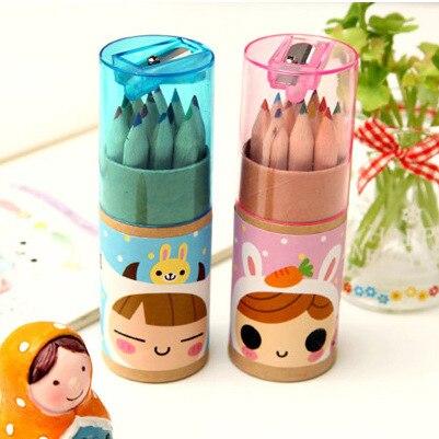 BLINGIRD 12 Цветов/коробка Симпатичные деревянные детская 2B пастельные карандаши школа живописи принадлежности ручка граффити инструменты цел...