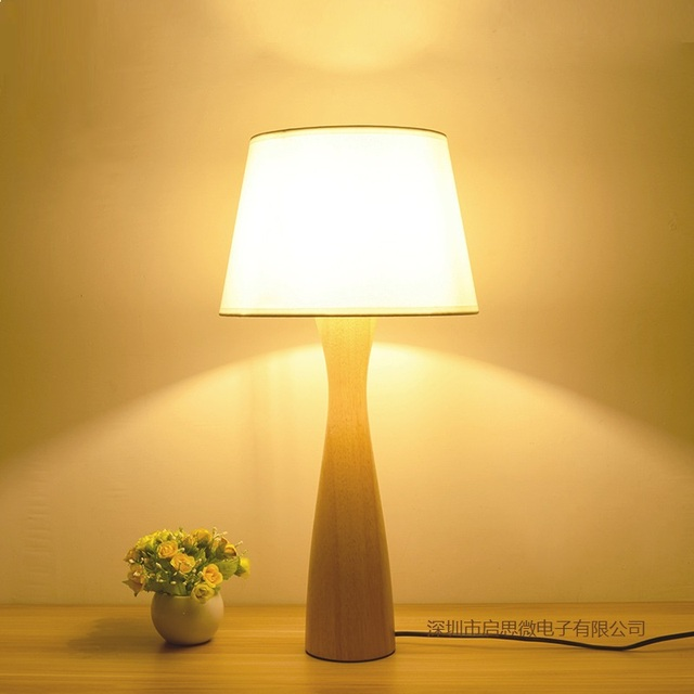Creative Modern Table Lamp Wooden Base Book Lights Desk Night Light E27 Holder Retro Bedside