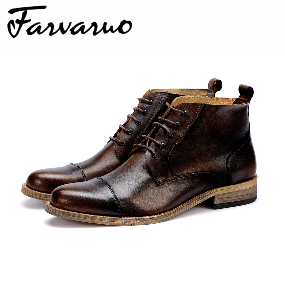 Farvarwo 2018 New Autumn And Winter Martin Boots Mens Genuine Leather Round Toe Retro Ankle Boot for Men Lace Formal Dress Shoes huizumei new genuine leather women s boots autumn and winter shoes retro handmade round toe soft bottom rubber ankle ladies boot