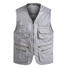 Summer Outdoors Mesh Multi Pockets Vest Men Thin Breathable Classic Reporter Vest Shooting Sleeveless Jacket Coat Waistcoat