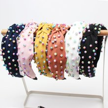 Xugar Hair Accessories Colorful Pearl Hairband for Women Knotted Hairbands Girls Fabric Headband Hair Hoop xugar pearl hair turban headbands for women girls solid color outdoor sport hairbands women hair accessories