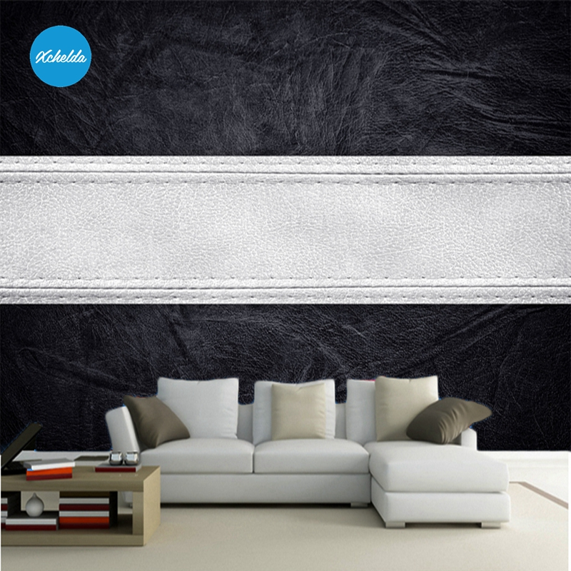 XCHELDA 3D Mural Wallpapers Custom Painting Black White Leather Background Bedroom Living Room Wall Murals Papel De Parede custom 3d wall murals wallpaper luxury silk diamond home decoration wall art mural painting living room bedroom papel de parede