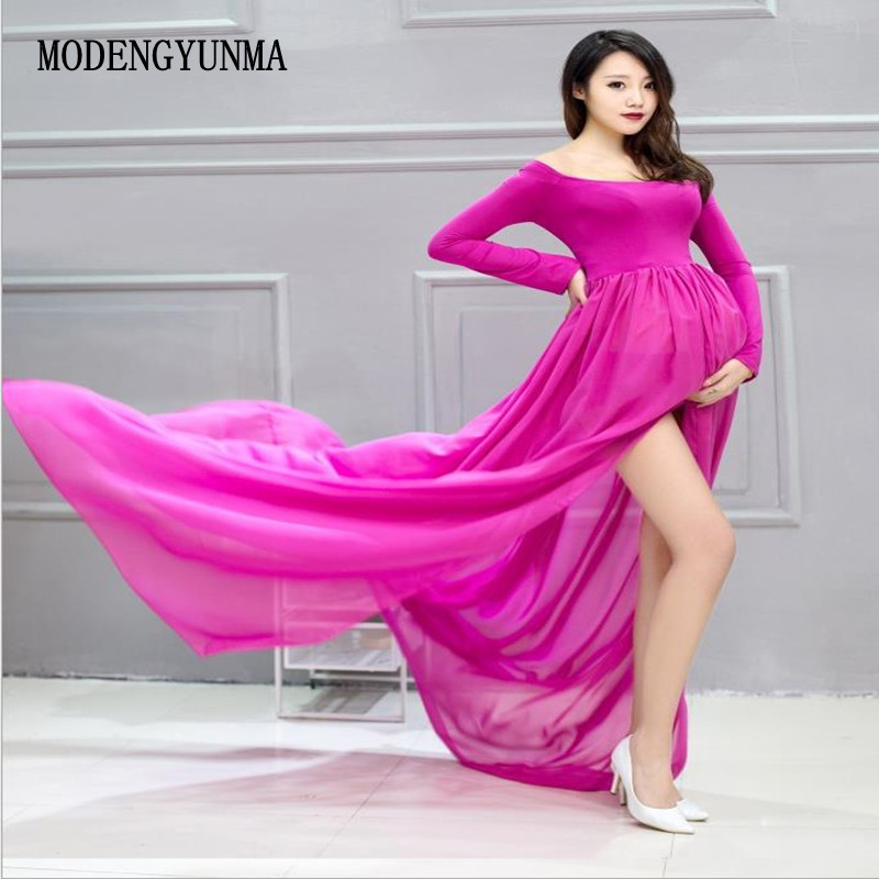 MODENGYUNMA Maternity Dresses Photography Props Maxi Pregnancy Dresses Off Shoulders Sexy Pregnant Photography Props Clothes