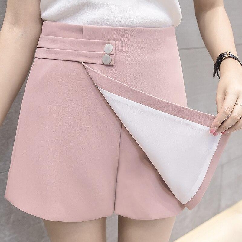 2019 New Shorts Women Summer Fashion High Waist Shorts Female Casual Loose Culottes Black/Pink/White Shorts Skirts