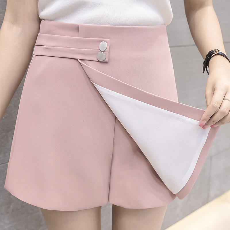 2019 New Women   Shorts   Skirts Spring Fashion High Waist   Shorts   Female Casual Loose Culottes Black/Pink/White   Shorts   For Woman
