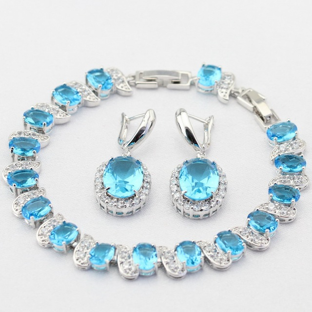 Vintage Egg Shaped Light Blue Stones Silver Color Christmas Women Jewelry  Sets Drop Earrings Bracelet Charms