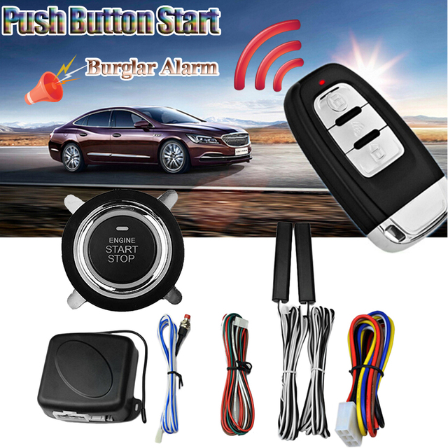 9pcs 12v Car Suv Push On Start Keyless Entry Engine Alarm System Remote