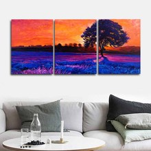 Laeacco 3 Panel Abstract Sunrise Posters and Prints Wall Artwork Vintage Canvas Calligraphy Painting Home Living Room Decoration