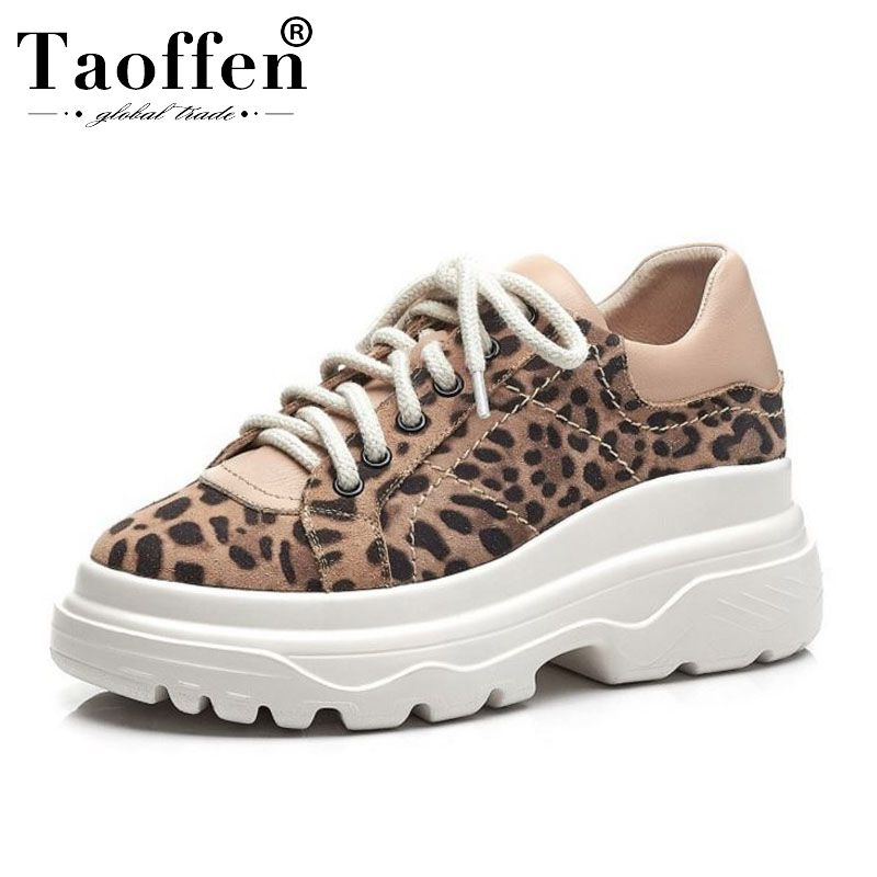 Taoffen Fashion Leopard Genuine Leather Women Vulcanized Shoes Lace Up Sneakers Daily Outdoor Leisure Women Shoes Size 34-39Taoffen Fashion Leopard Genuine Leather Women Vulcanized Shoes Lace Up Sneakers Daily Outdoor Leisure Women Shoes Size 34-39