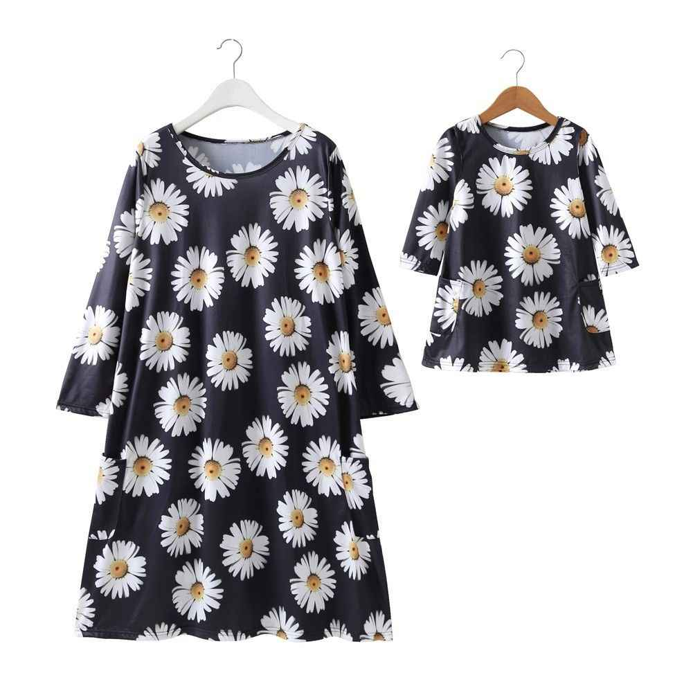 Mother Daughter Summer Flower Dress Family Matching Women Baby Girl Sweet  floral printed Dresses New Family 17ed2a35c768