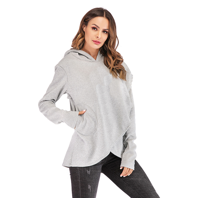 Plus Size Pocket Pullover Casual Warm Hooded Sweatshirt