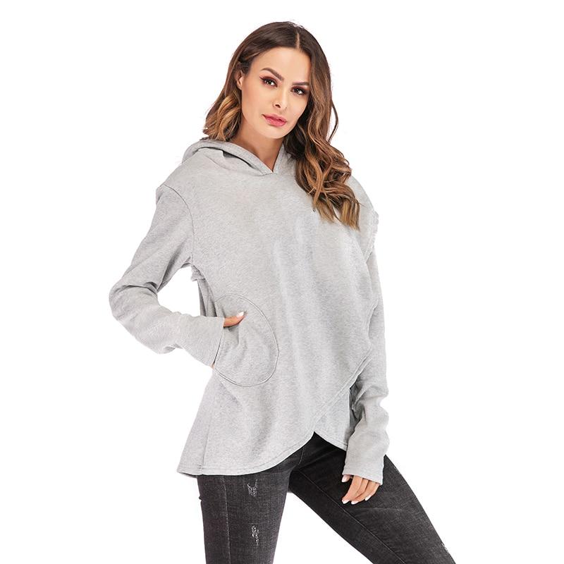 Sudaderas con capucha para mujer 2019 otoño invierno más tamaño de manga larga bolsillo pulóver Sudadera con capucha Casual para mujer