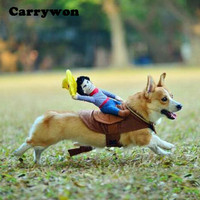 Carrywon Novelty Pet Clothing Cowboy Horse Riding Clothes Cat Dog Suit Pets Clothes Puppy Dogs Cats Funny Jean Costume