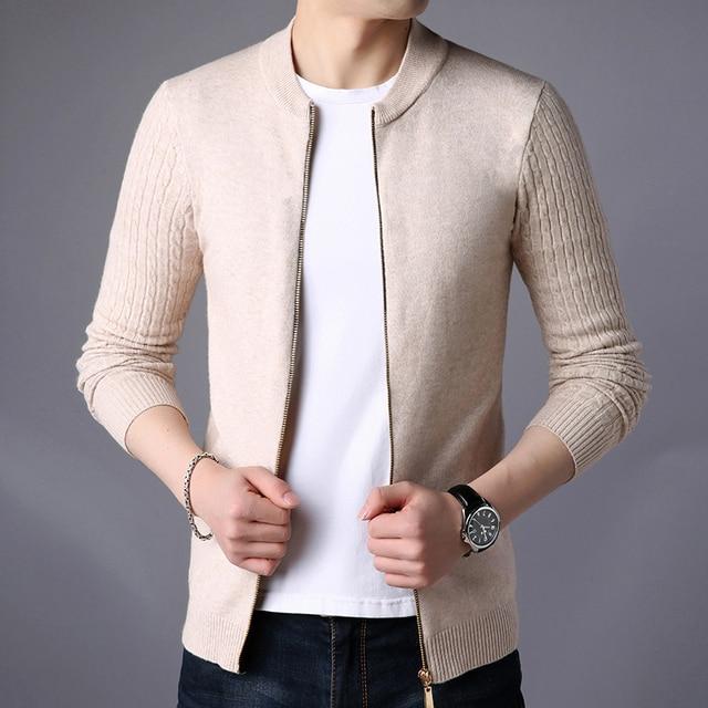 Cardigan Solid Stand Collar Zipper Men's Sweater  3