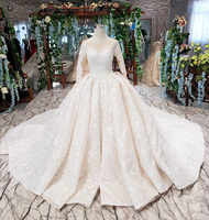 Vintage Wedding Dress Ball Gown Lace Beading Sequined Bride Dress Long Sleeves Wedding Gown 2019 vestido de noiva