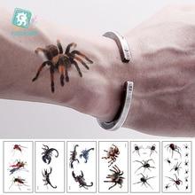 Rocooart 3D Spider Tatoo Scorpion Temporary Tattoo Stickers For Halloween Fake Body Art Tatuajes Joke TatouageTemporaire
