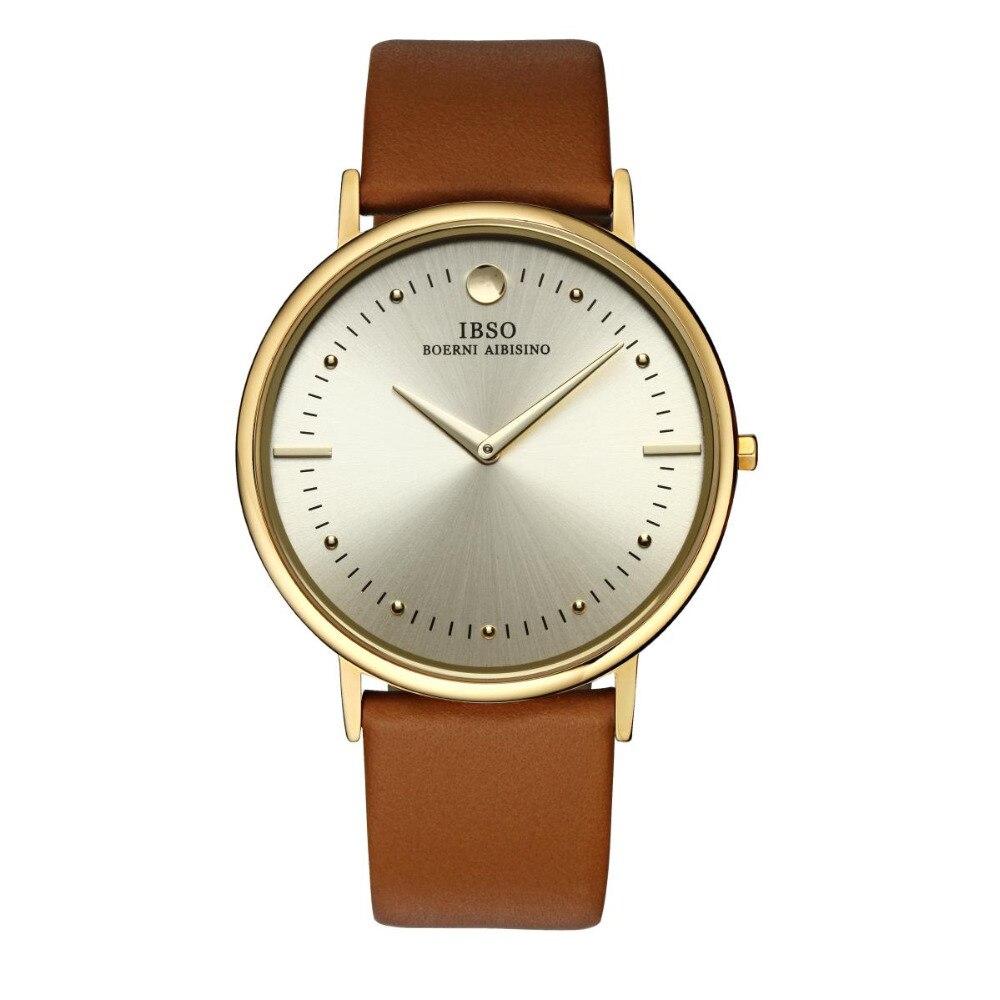 IBSO Fashion Mens Ultra-thin Watches Genuine Leather Strap Quartz Watch Men Wristwatches 16151