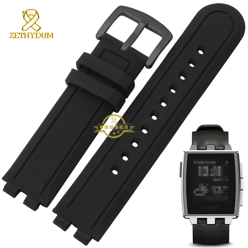 все цены на Silicone rubber watchband waterproof Convex  width 22mm smart bracelet black wristwatches band for Pebble Steel2 rubber strap онлайн