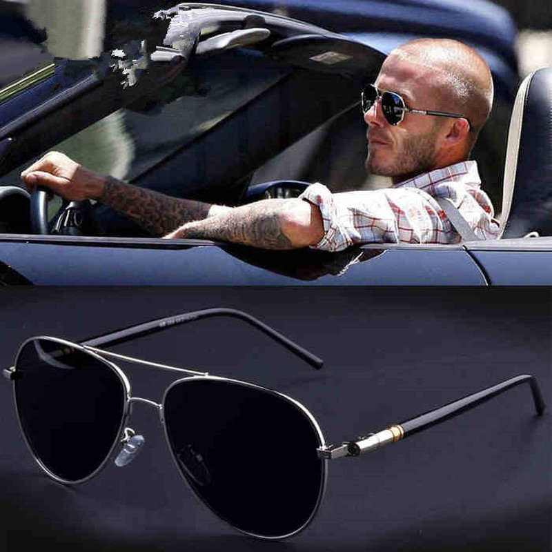 Aviação Metail frame qualidade oversized mola braços liga para homens óculos de sol para as mulheres polarização marca ...