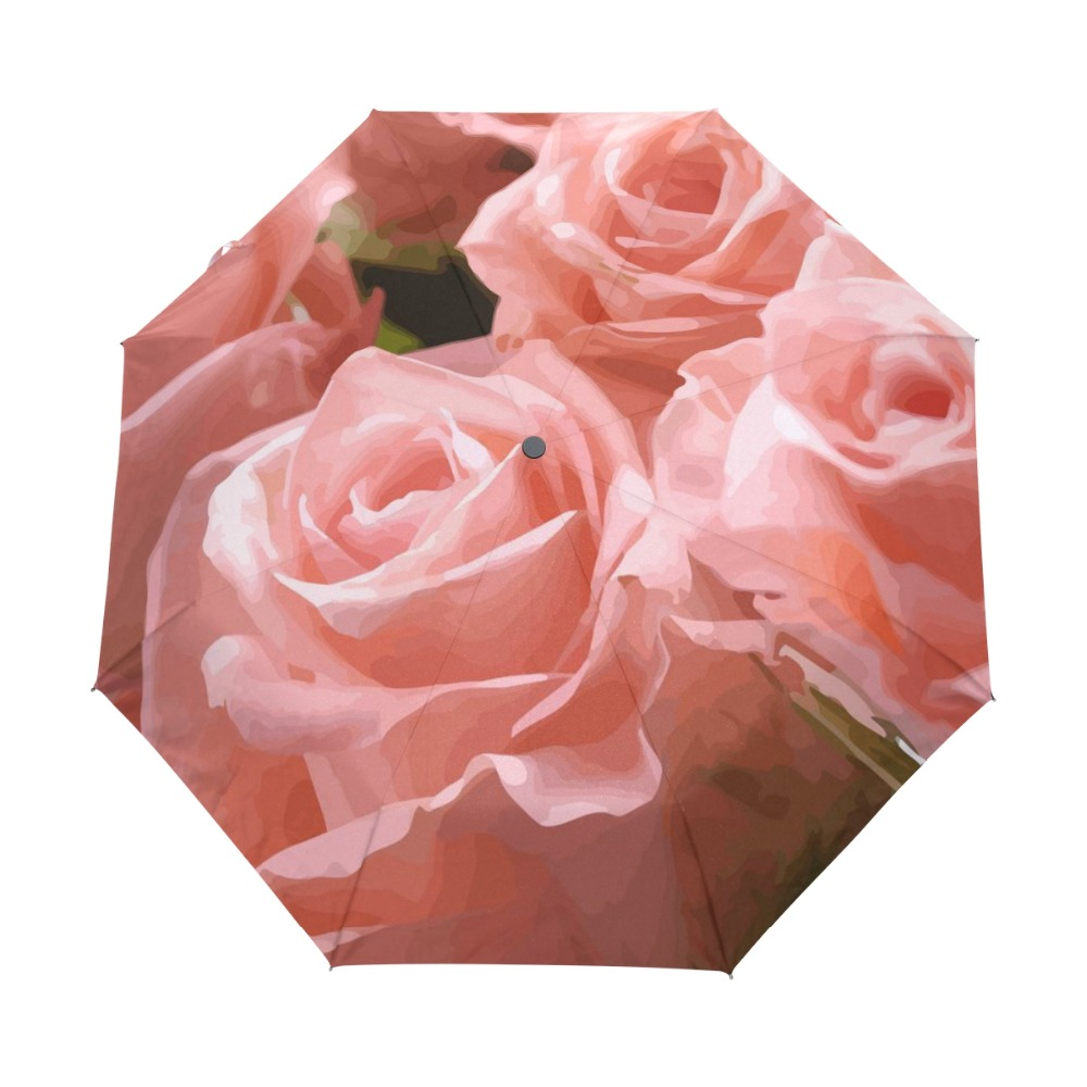 Custom Beautiful Pink Rose Oil Painting Sun Umbrella Adults Foldable Anti UV Women Umbrella Good Gift Idea Christmas Gift ...