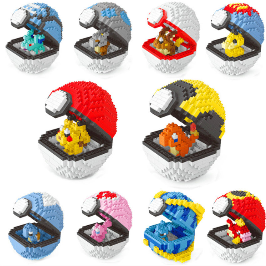 Pocket Monster Pokeball Love Ultra Premier Dive Ball Mew Pikachu Charmander Raichu Diamond Mini Nano Blocks