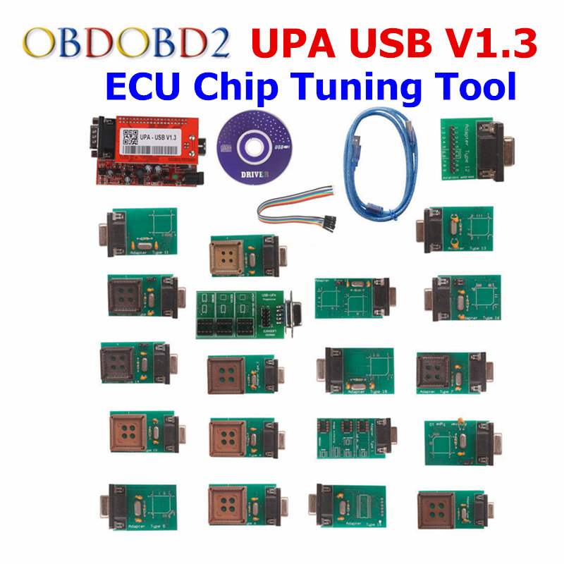 Newest UPA-USB UPAUSB UPA USB Programmer With Full Adaptors V1.3 ECU Chip Tunning ECU Programmer OBD2 Diagnostic Tool 2016 newest ktag v2 11 k tag ecu programming tool master version v2 11ktag k tag ecu chip tunning dhl free shipping