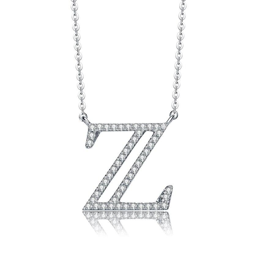RINYIN bijoux fins pur 18 K or blanc collier Alphabet A à Z lettre pendentif diamant nom personnalisé