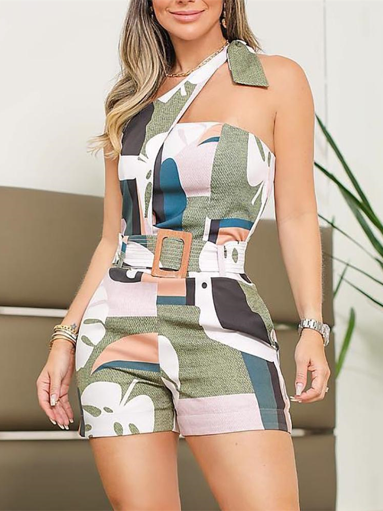Women One Shoulder Knotted Detail Abstract Print Playsuit Summer Romper Colorful Vacation Holiday Short Jumpsuit