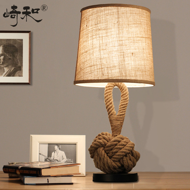 Rope Table Lamps LED Bedroom Lamps Bedside Vintage Industrial Table Lamp  Lamparas De Mesa Lamparas Vintage