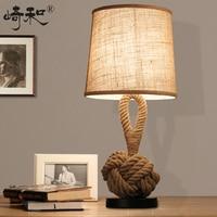 Rope Table Lamps LED Bedroom Lamps Bedside Vintage Industrial Table Lamp Lamparas de mesa Lamparas Vintage mesa