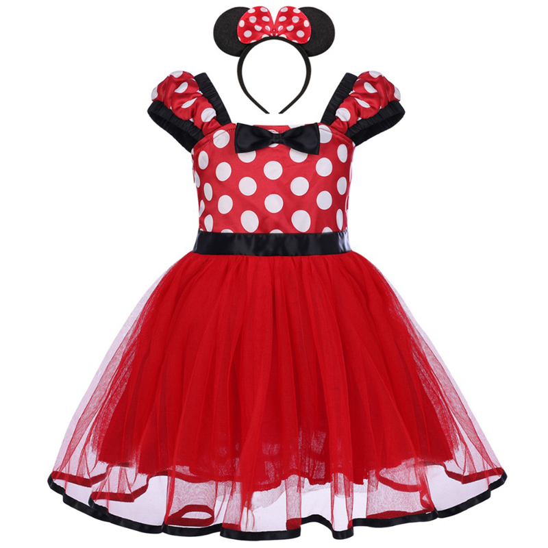 2pcs Set Baby Kid Girls Minnie Costume Fancy Tutu Dress Ear Headband Party Outfits Micky Mouse Cosplay Polka Dot Dress 12M-5Y