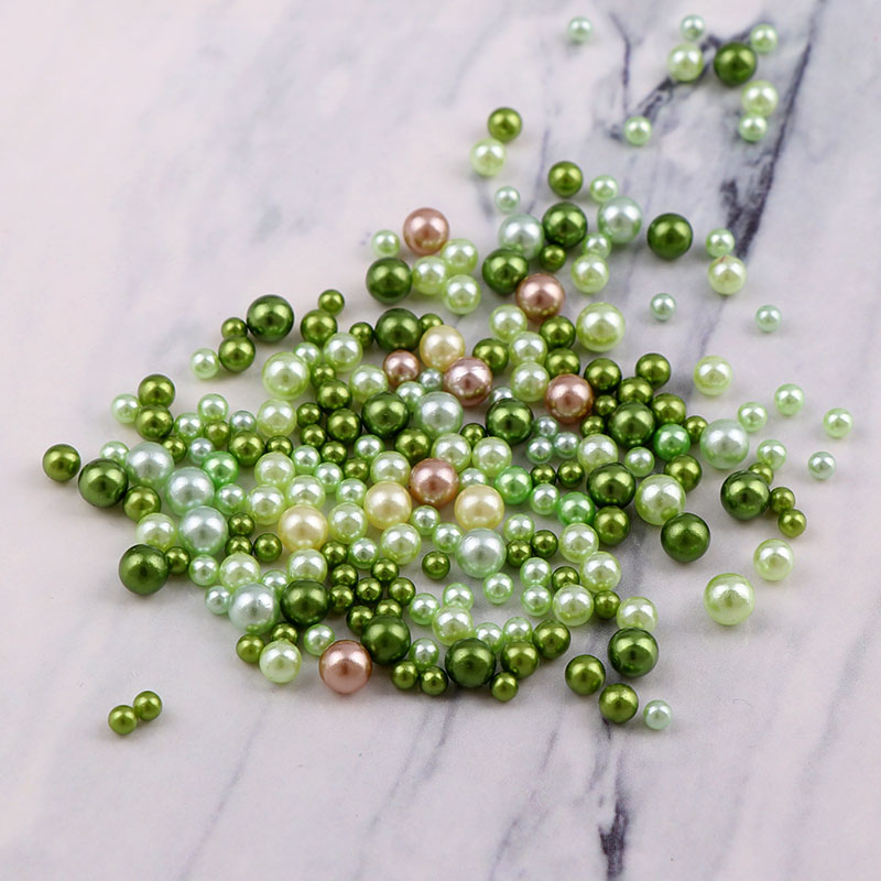 3-6mm Mix Size Imitation No Hole Pearl Round Beads Deep Green Series For DIY Nail Art Decoration