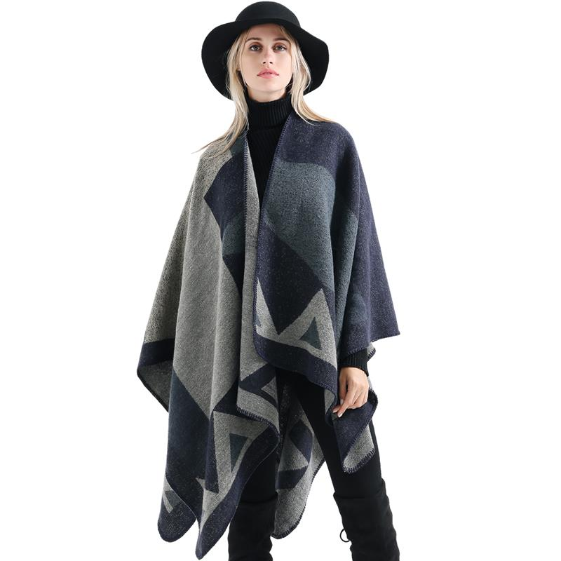 10693f7f5 Vbiger Women Color Block Shawl Wrap Open Front Poncho Cape Oversized Winter  Blanket Reversible Scarf Thick Cardigan Coat