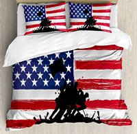 American Duvet Cover Set Bless America Silhouettes of American USA Flag Background Valor Patriot Theme 4 Piece Bedding Set