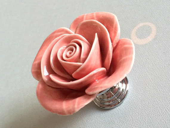Pink Rose Flower Cabinet Door Knobs Dresser Knobs Drawer Knob Pulls Handles Silver Rustic Kitchen Handle Ceramic Rustic Hardware css clear crystal glass cabinet drawer door knobs handles 30mm