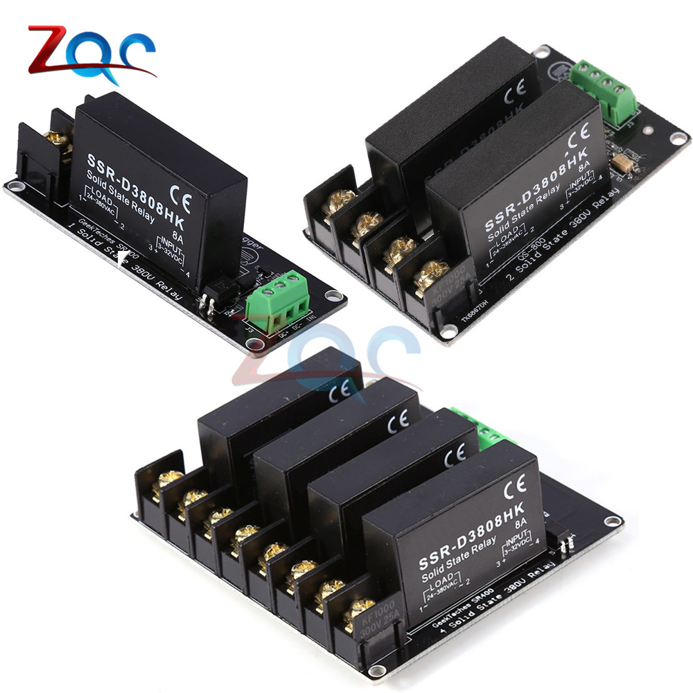 380V 8A 1 2 4 Channel Solid State Relay Module High And Low Level H-L Trigger Board SSR-D3808HK Switch Controller For Arduino