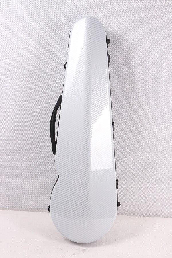 Один чехол из углеродного волокна для скрипки 4/4 Размер Чехол из углеродного волокна крепкий светильник прочный черный цвет белый цвет - Цвет: white 1