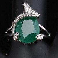 Elegante forma de pera verde zirconia cúbico alrededor blanco Gems 925 Jewelrys solitario anillos US # tamaño 6 7 8 9 S1493