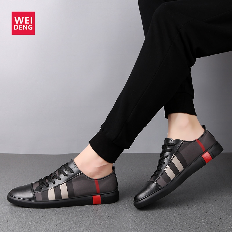 WeiDeng Man Gunuine Leather Platform Loafer Lace Up Casual Flats Light Soft Shoes Walking Woman Leisure Fashion