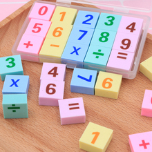 15pcs/lot Kawaii Eraser Boxed Digital Addition And Subtraction Pencil Erasers Cleaner School Supplies Student Kids Gift