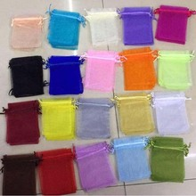 100pcs/lot 7×9, 9×12, 10×12, 10x15cm Solid Colour Drawstring Organza Bags Christmas Wedding Gift Bags Candy Jewelry Bags Pouches