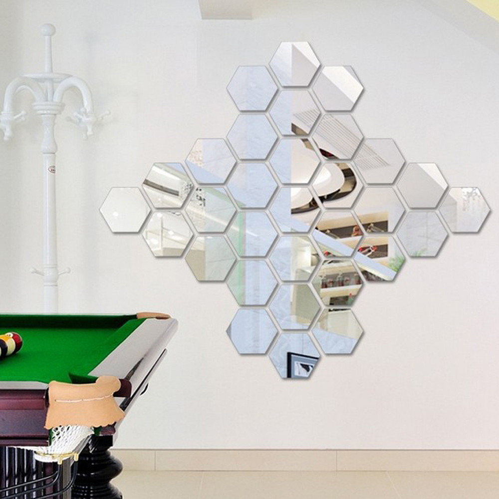 12Pcs/Set 3D Mirror Hexagon Wall Sticker Vinyl Acrylic Home Room Office Store Decor Art Silver Removable Attached DIY F310