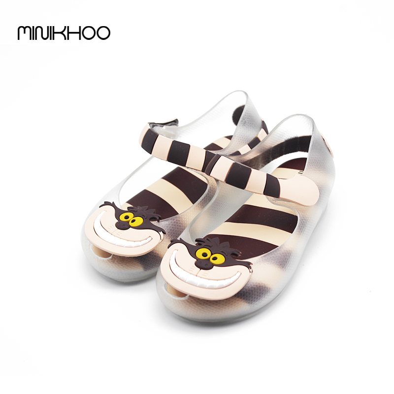 Alice In Wonderland Mini Melissa Toddler Girl Sandals Shoes Cheshire Cat Smile Mouth Sandals Children Sandals