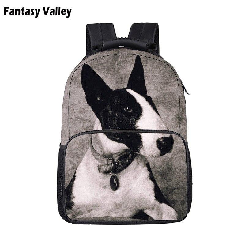 Bull Terrier/ Bulldog / Pug / German Shepherd Dog Backpack For Teenager Boy Girls Children School Bags Women Men Travel Backpack