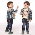 Потеряли деньги, чтобы очистить мальчиков весна-осень полосатый комплект одежды 3 шт. детские джинсы set детская одежда мальчиков одежда детская одежда