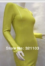 Figure-flattering o neck dress bandage dress yellow long sleeves women dress DM596