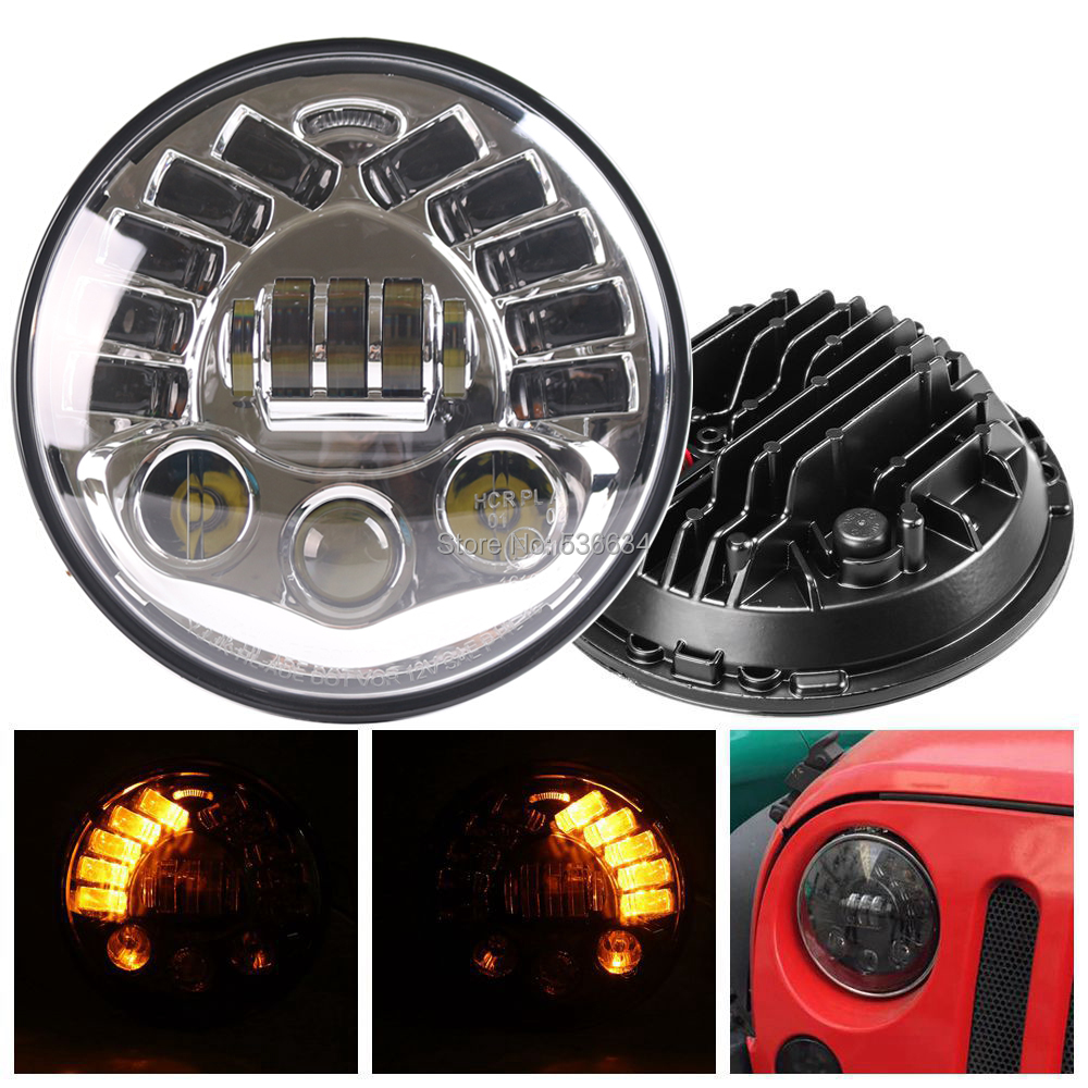 7 светодио дный круглый проектор фары с Янтарное кольцо DRL свет для Jeep CJ 8 Scramble, Jeep Wrangler TJ, 2007 2017 Jeep Wrangler JK